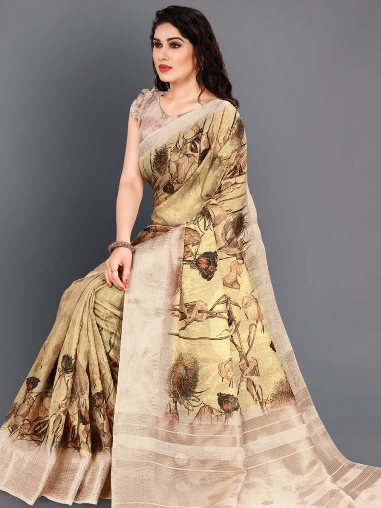 Beige Yellow and Golden Cotton Silk Printed Casual Saree
