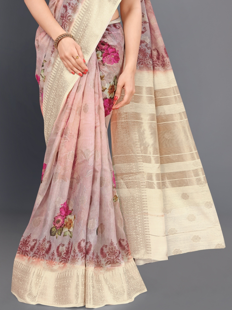 Light Pink and Cream Yellow Cotton Silk Printed Casual Saree