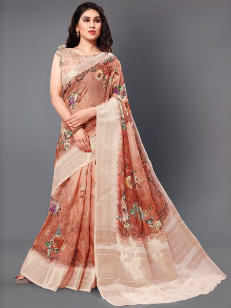 Rust Orange and Beige Yellow Cotton Silk Printed Casual Saree