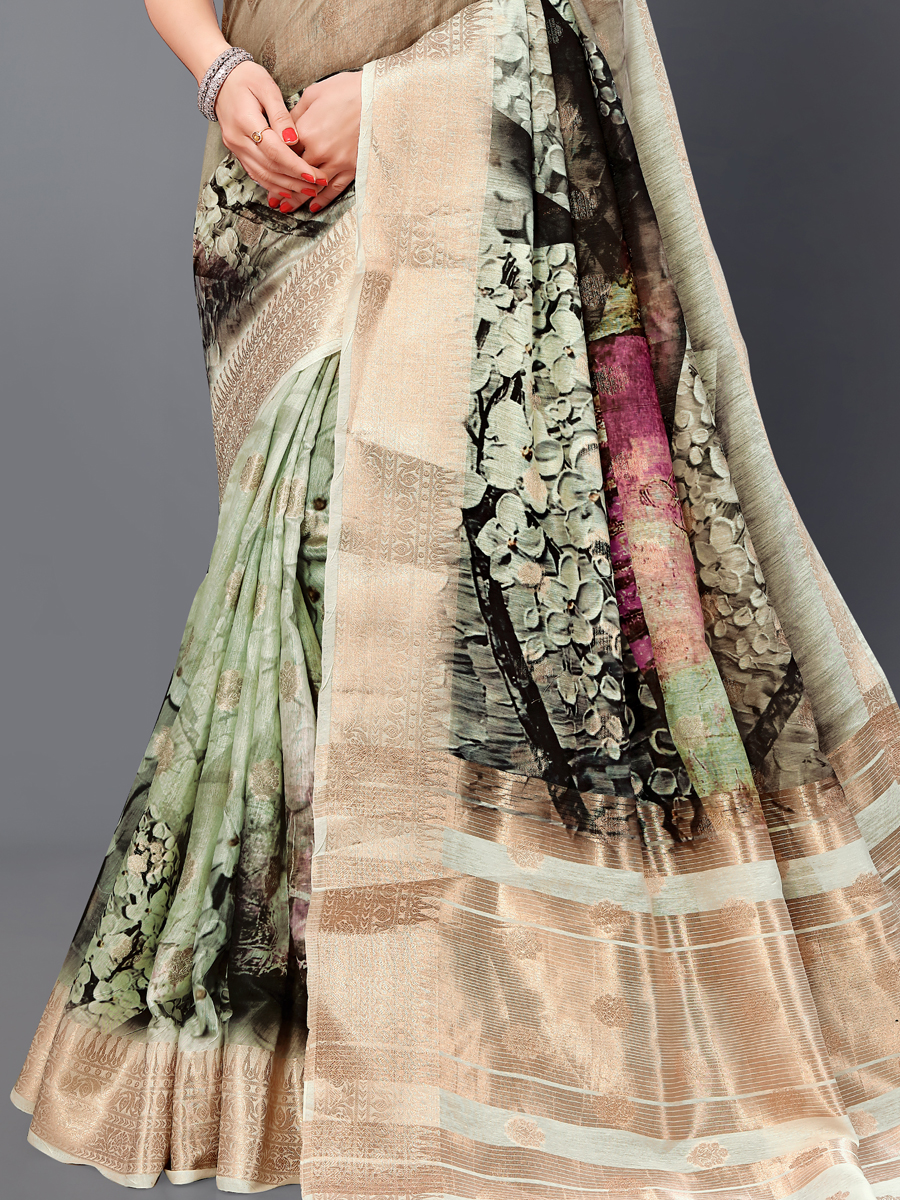 Asparagus Green and Golden Cotton Silk Printed Casual Saree