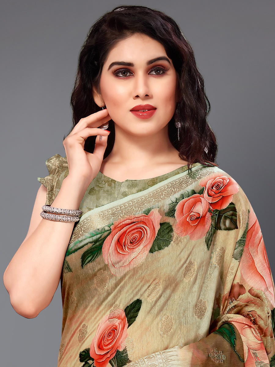 Light Brown and Beige Yellow Cotton Silk Printed Casual Saree