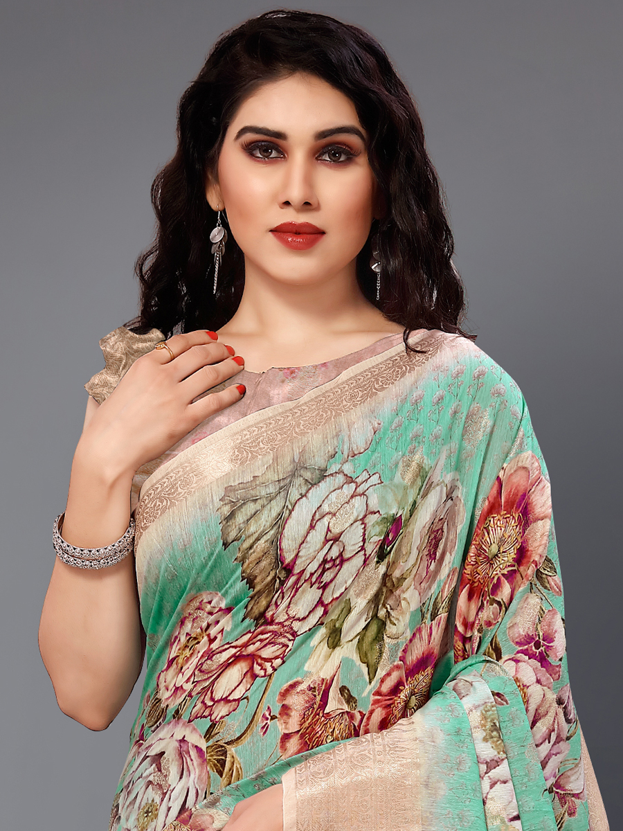 Turquoise Blue and Golden Cotton Silk Printed Casual Saree