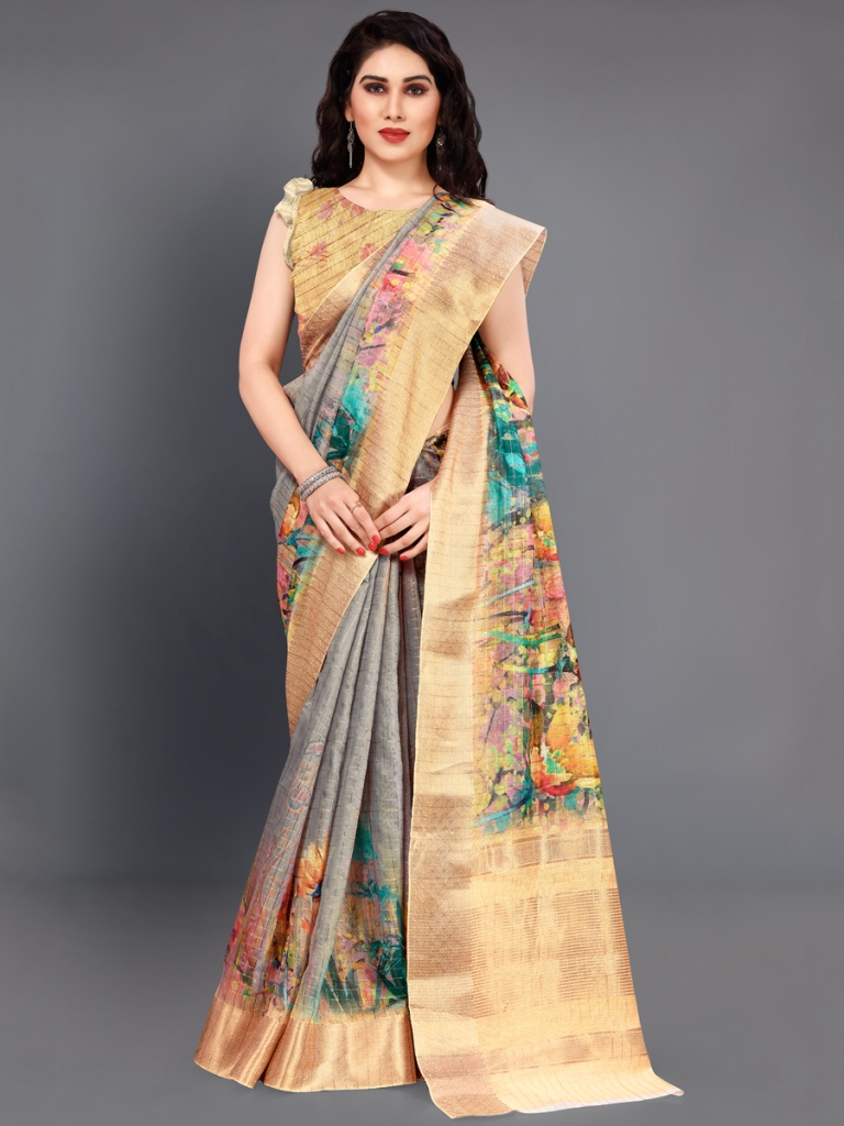 Old Gold Yellow and Gray Cotton Silk Printed Casual Saree