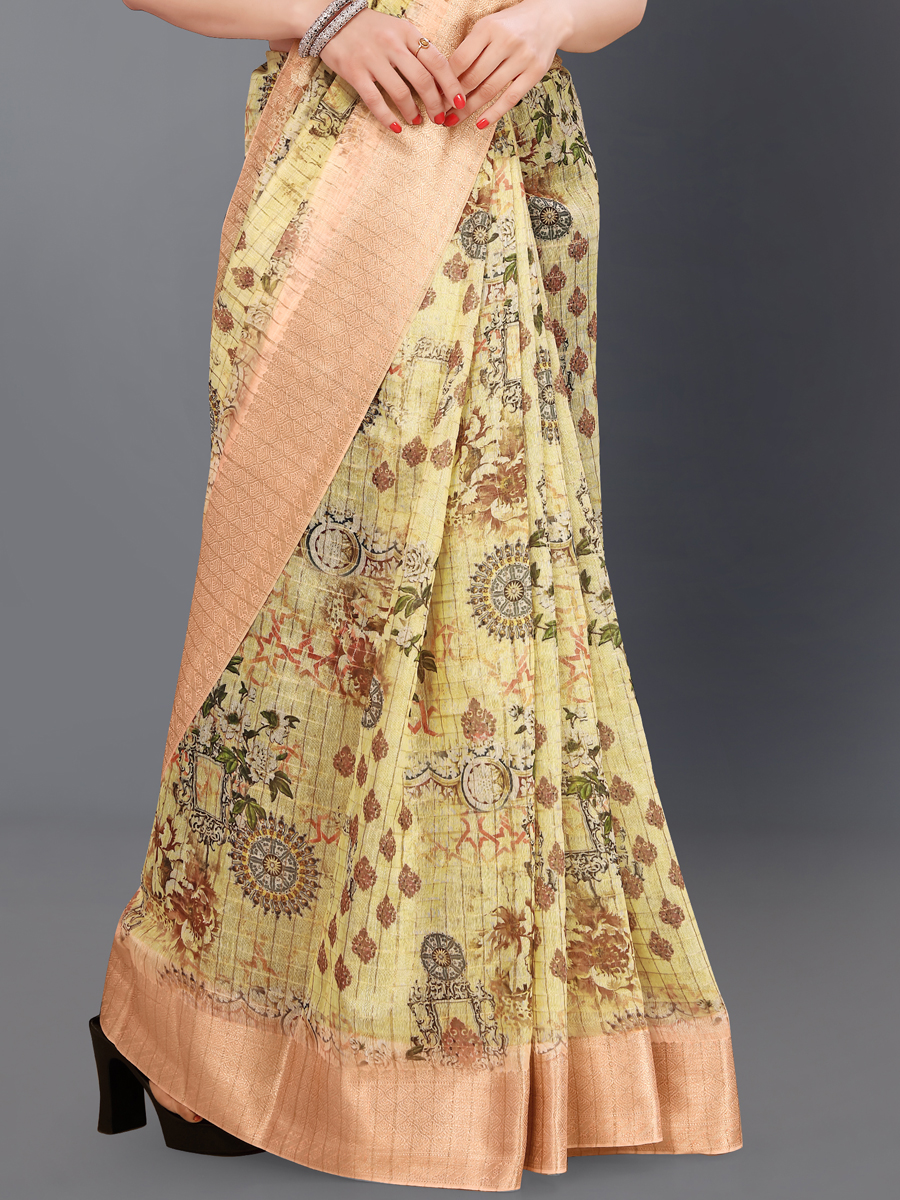 Buff Yellow and Coral Pink Cotton Silk Printed Casual Saree