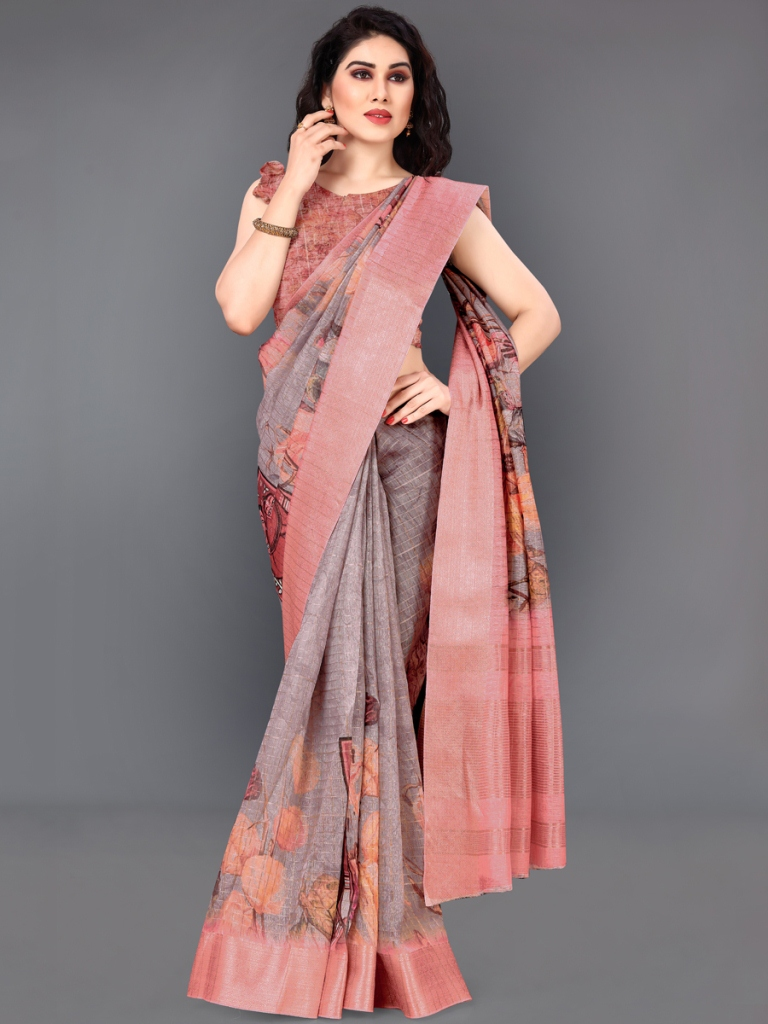 Wine Red and Salmon Pink Cotton Silk Printed Casual Saree