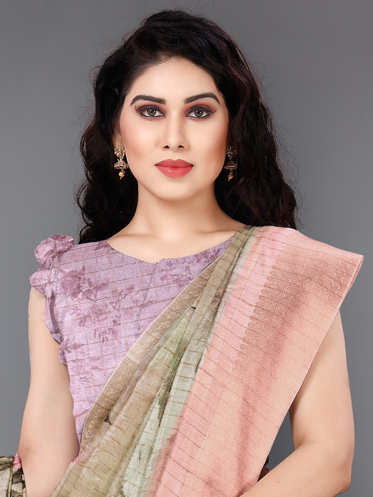 Light Green and Pink Cotton Silk Printed Casual Saree