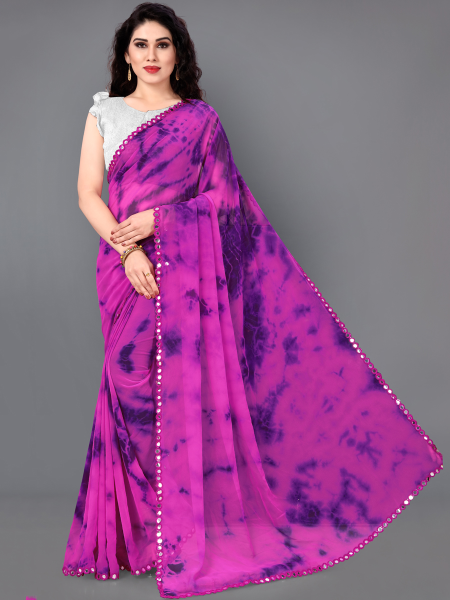 Magenta Pink and Purple Faux Georgette Printed Casual Saree