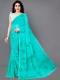 Robin-Egg Blue and Green Faux Georgette Printed Casual Saree