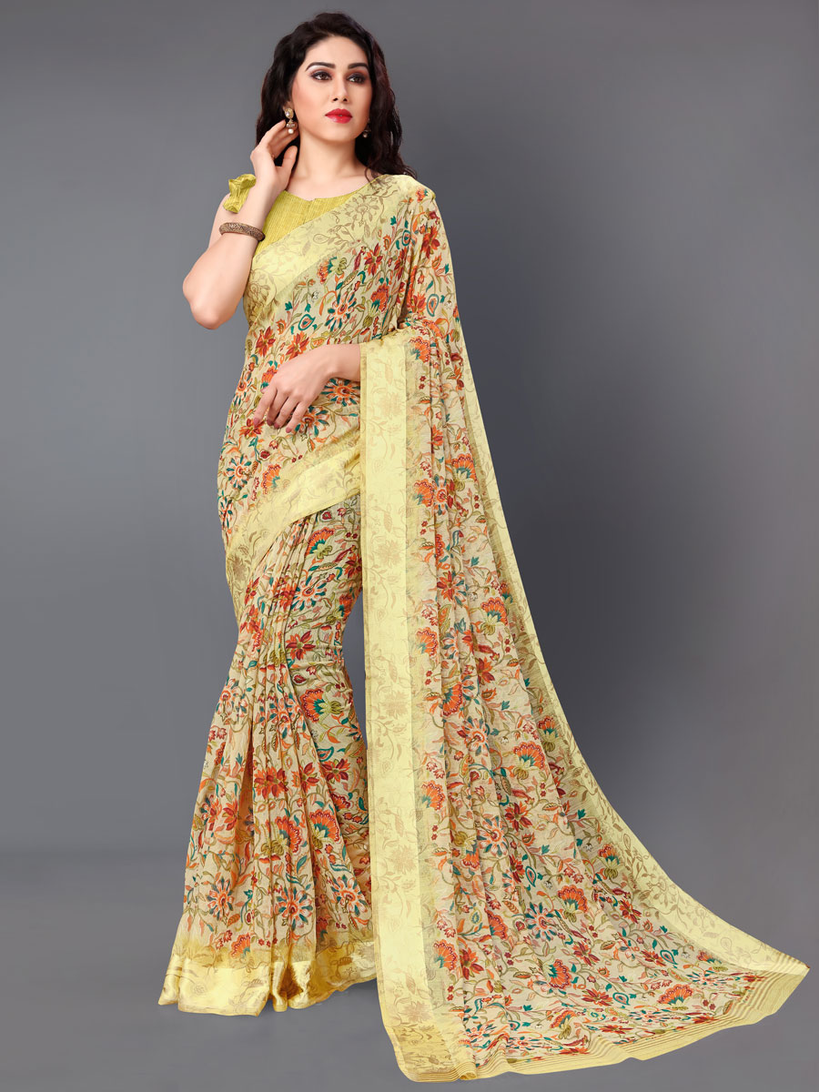 Beige Yellow Cotton Printed Casual Saree
