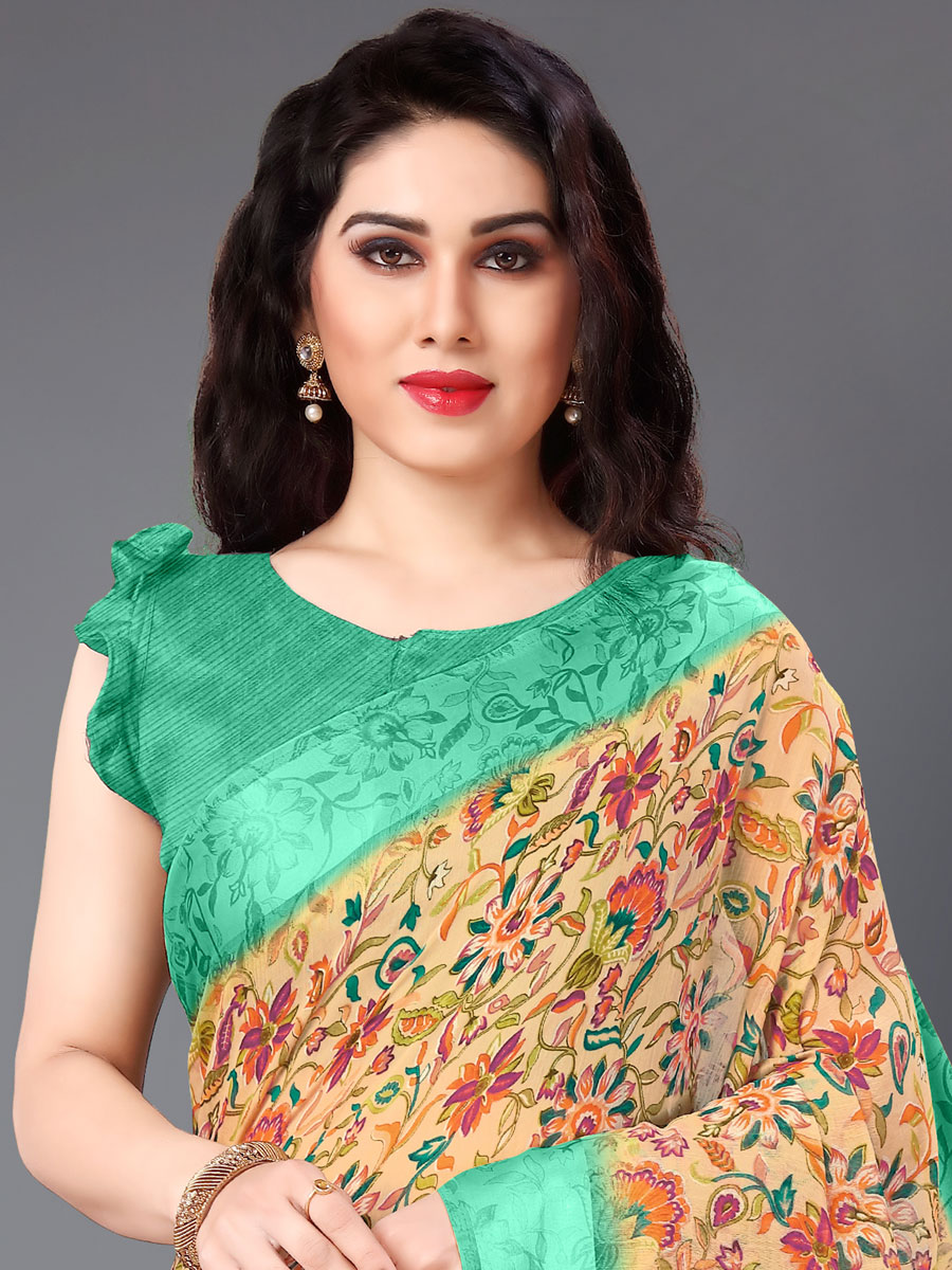 Peach-Orange and Jungle Green Cotton Printed Casual Saree
