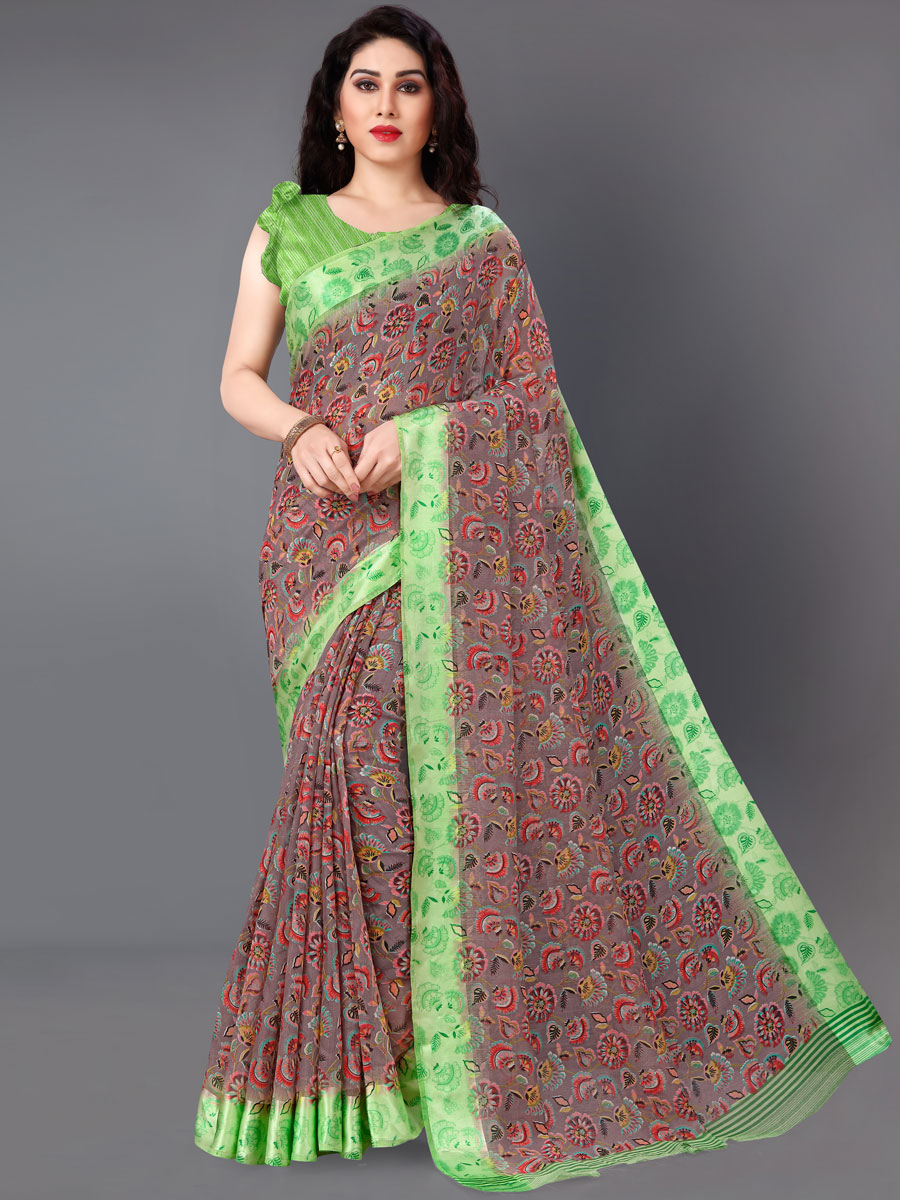 Wine Red and Parrot Green Cotton Printed Casual Saree