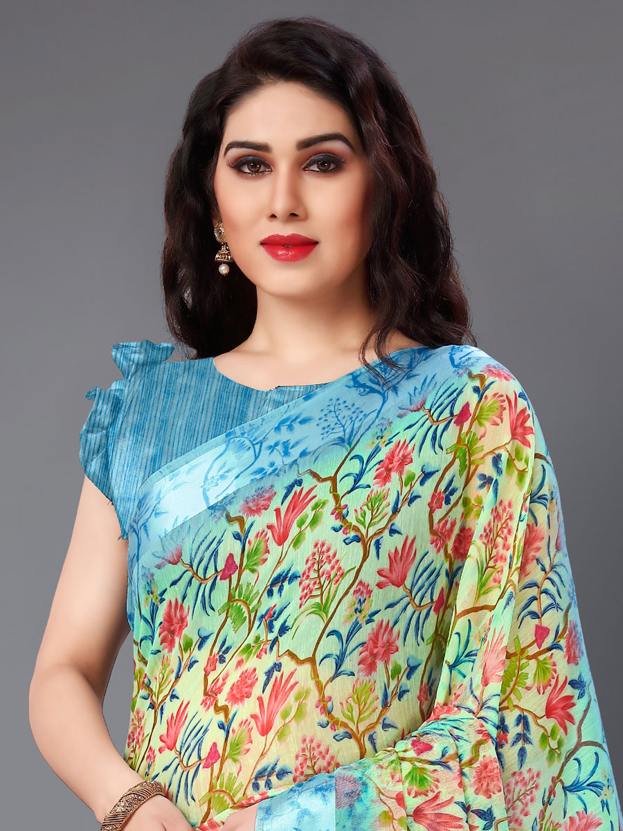 Moss Green and Turquoise Blue Cotton Printed Casual Saree