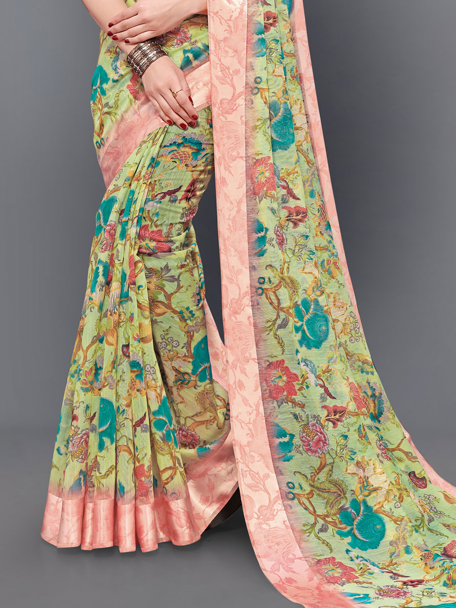 Light Green and Coarl Pink Cotton Printed Casual Saree