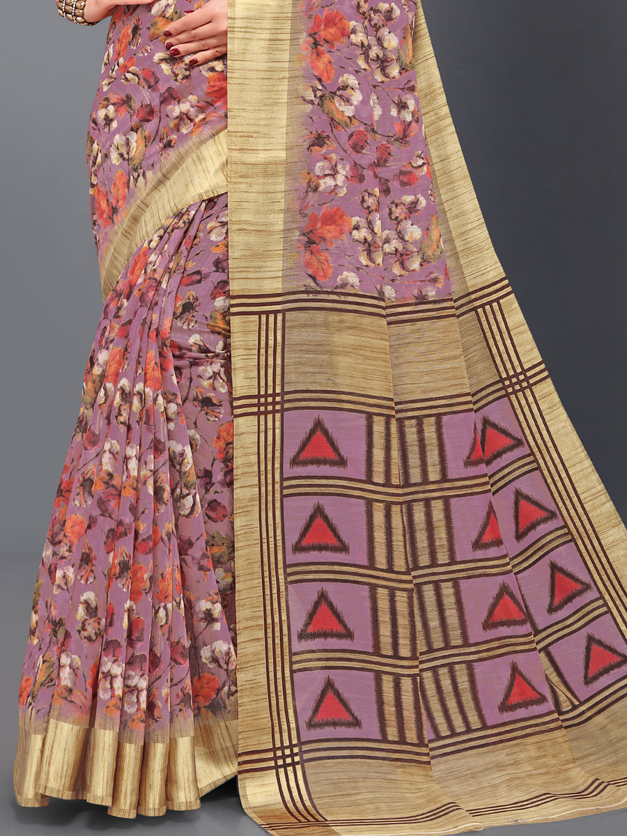 Wine Red and Beige Yellow Cotton Printed Casual Saree