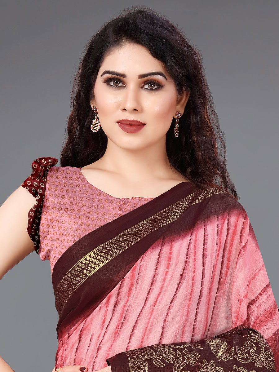 Coral Pink and Maroon Cotton Printed Casual Saree
