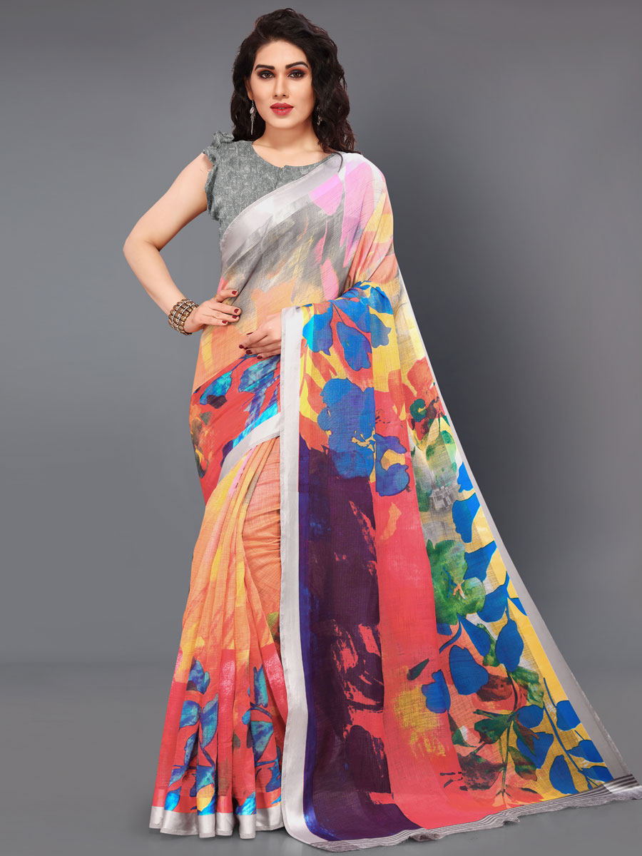 Gray and Coral Pink Cotton Printed Casual Saree