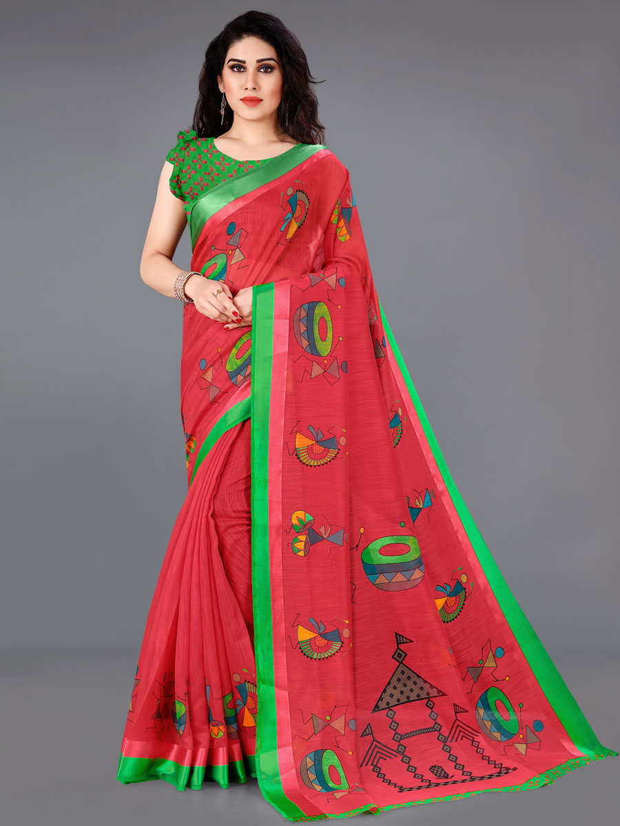 Rose Madder Red and Dark Green Cotton Printed Casual Saree