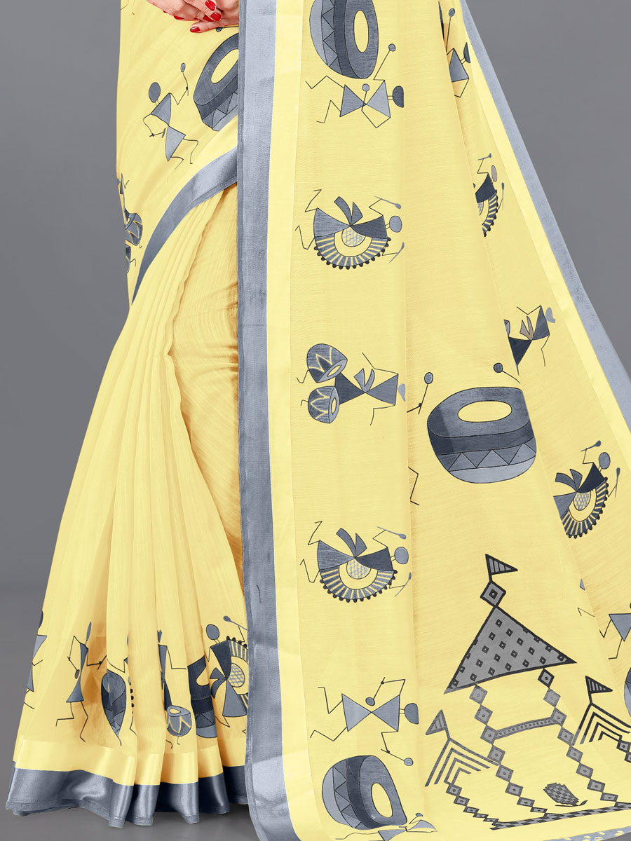 Light Yellow and Gray Cotton Printed Casual Saree