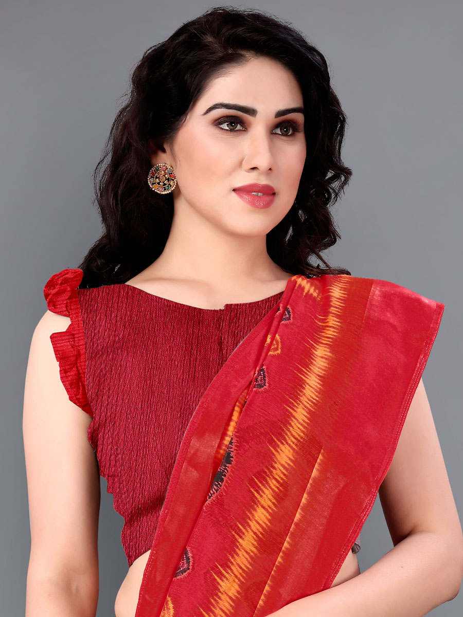 Black and Rose Madder Red Cotton Printed Casual Saree