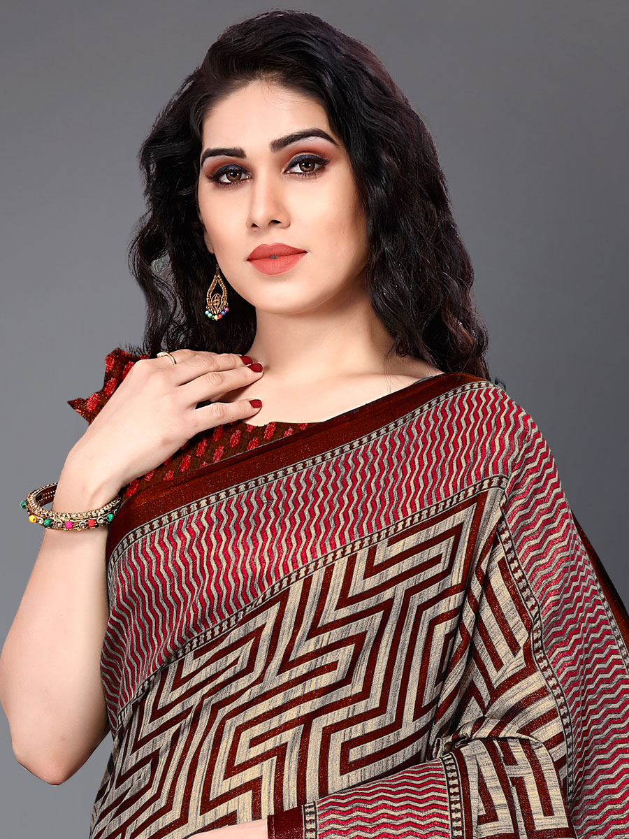 Maroon and Beige Yellow Khadi Silk Printed Festival Saree