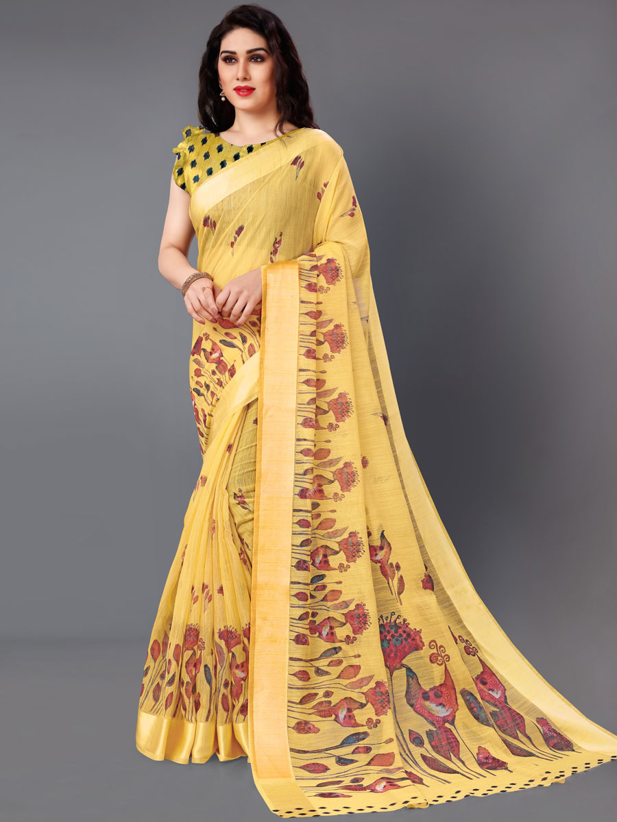 Saffron Yellow Cotton Printed Casual Saree