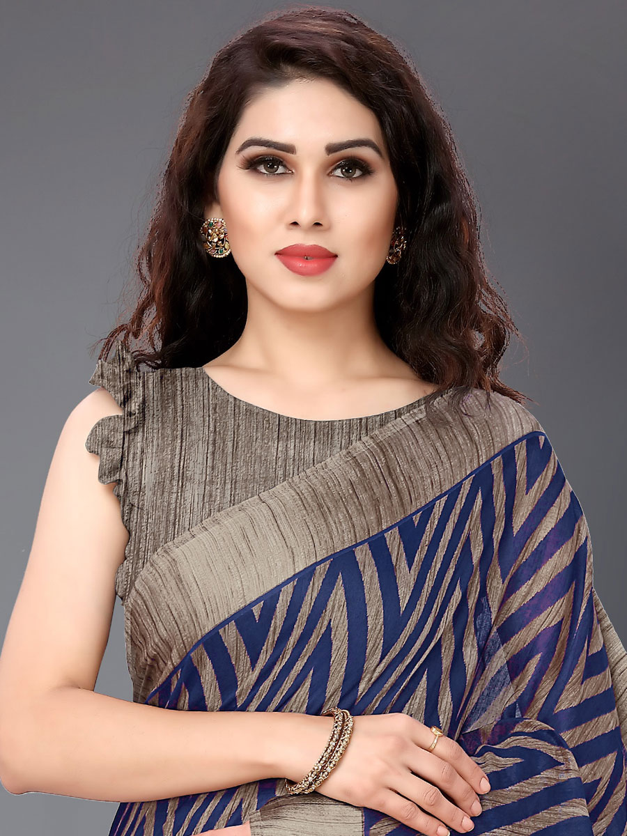 Navy Blue and Beige Yellow Cotton Printed Casual Saree