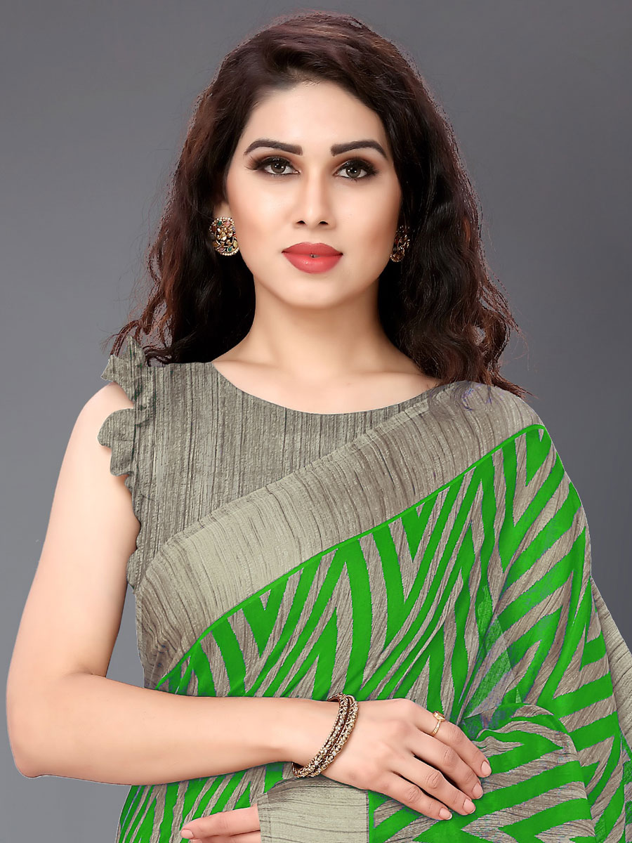 Parrot Green Cotton Printed Casual Saree