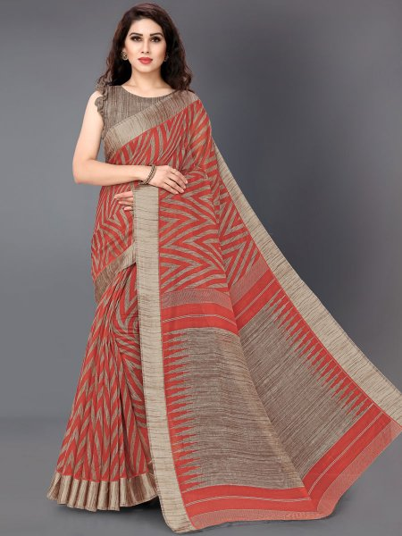 Vermilion Red Cotton Printed Casual Saree