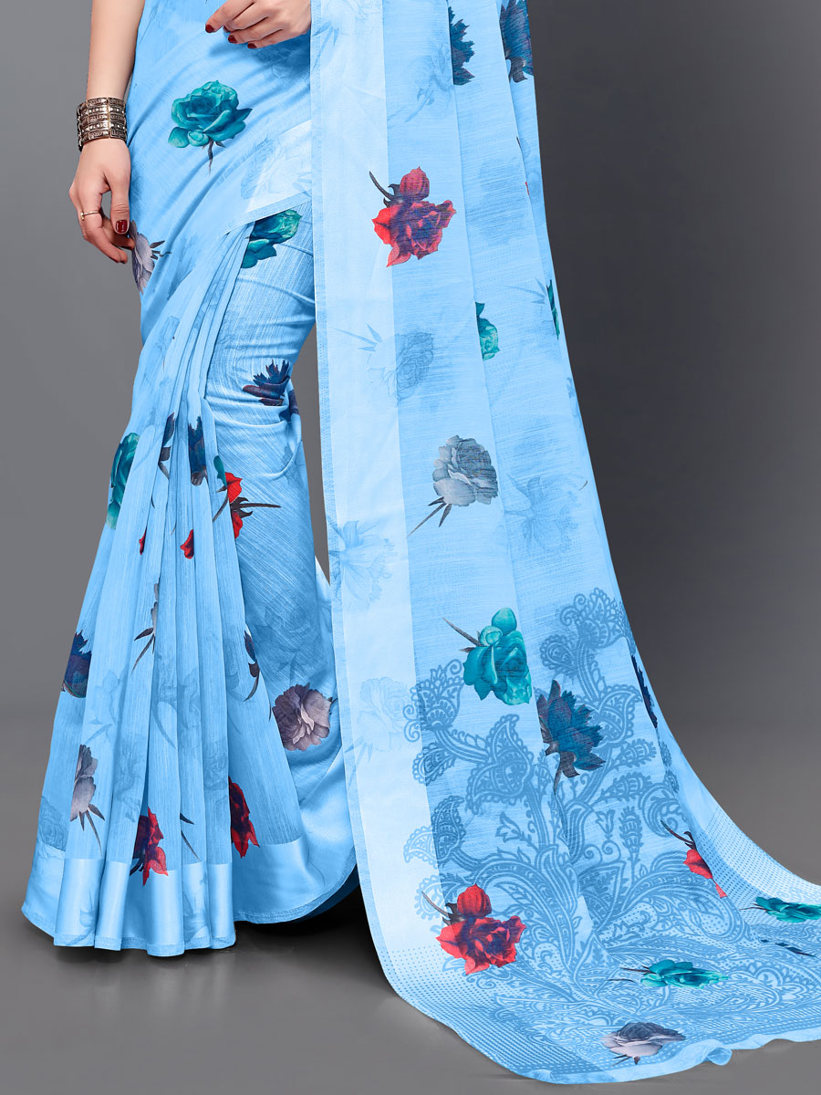 Dodger Blue Cotton Printed Casual Saree