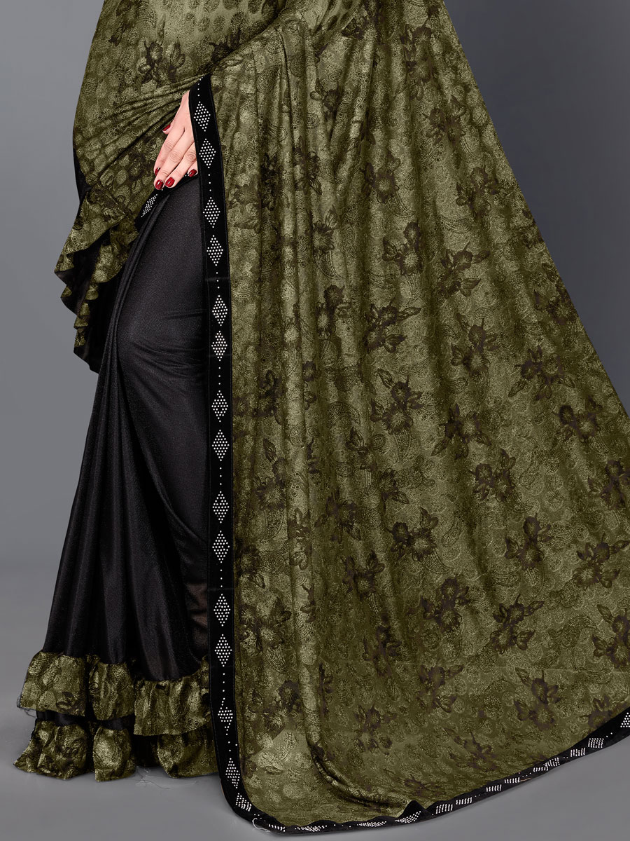 Olive Green and Black Lycra Printed Party Saree