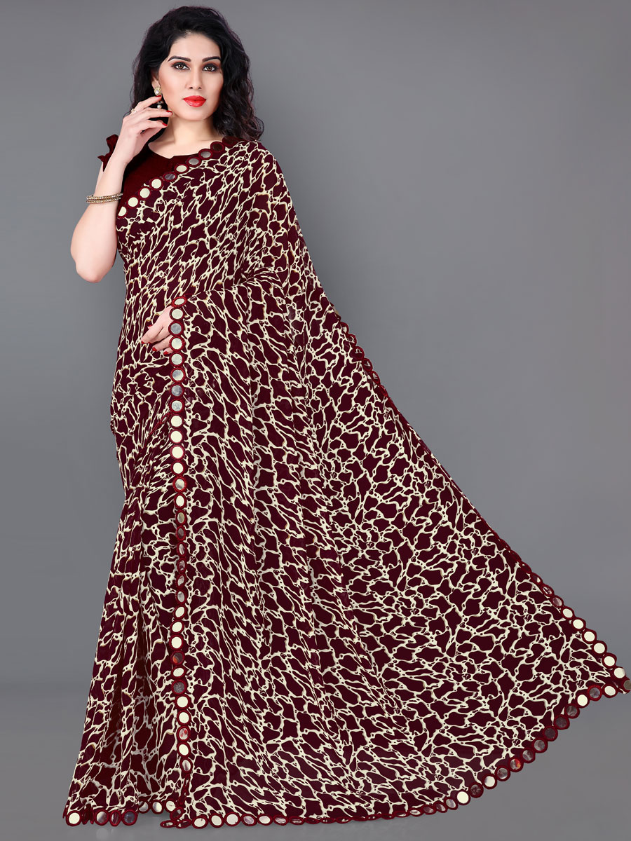 Wine Red Faux Georgette Printed Party Saree