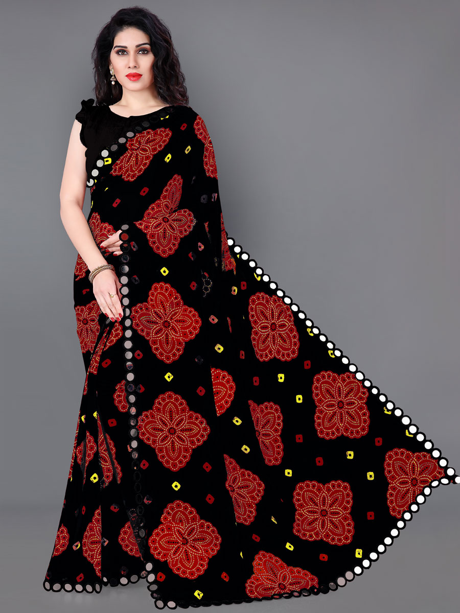Black Faux Georgette Printed Party Saree