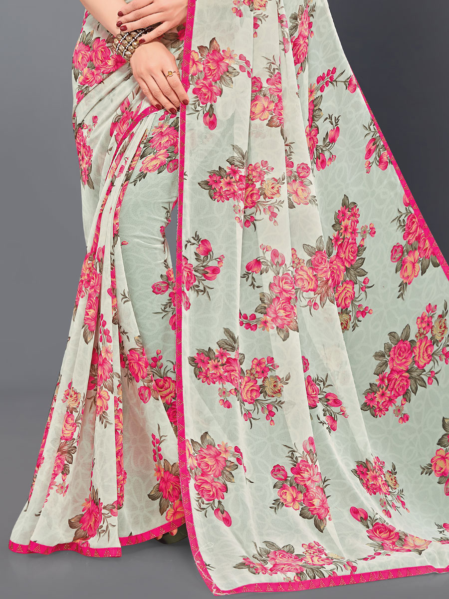 Off-White Faux Georgette Printed Casual Saree