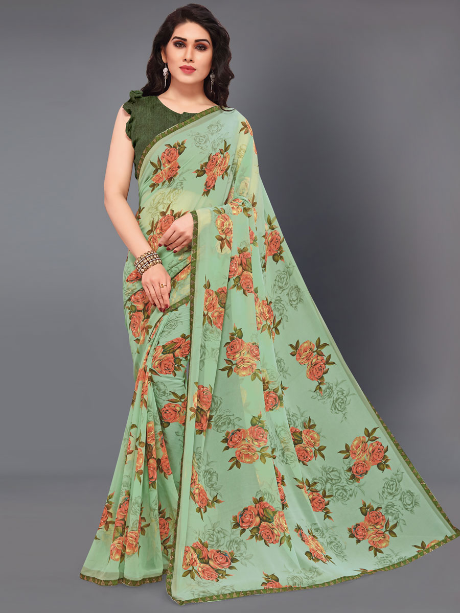 Light Green Faux Georgette Printed Casual Saree