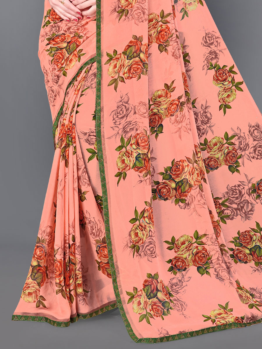 Coral Pink Faux Georgette Printed Casual Saree