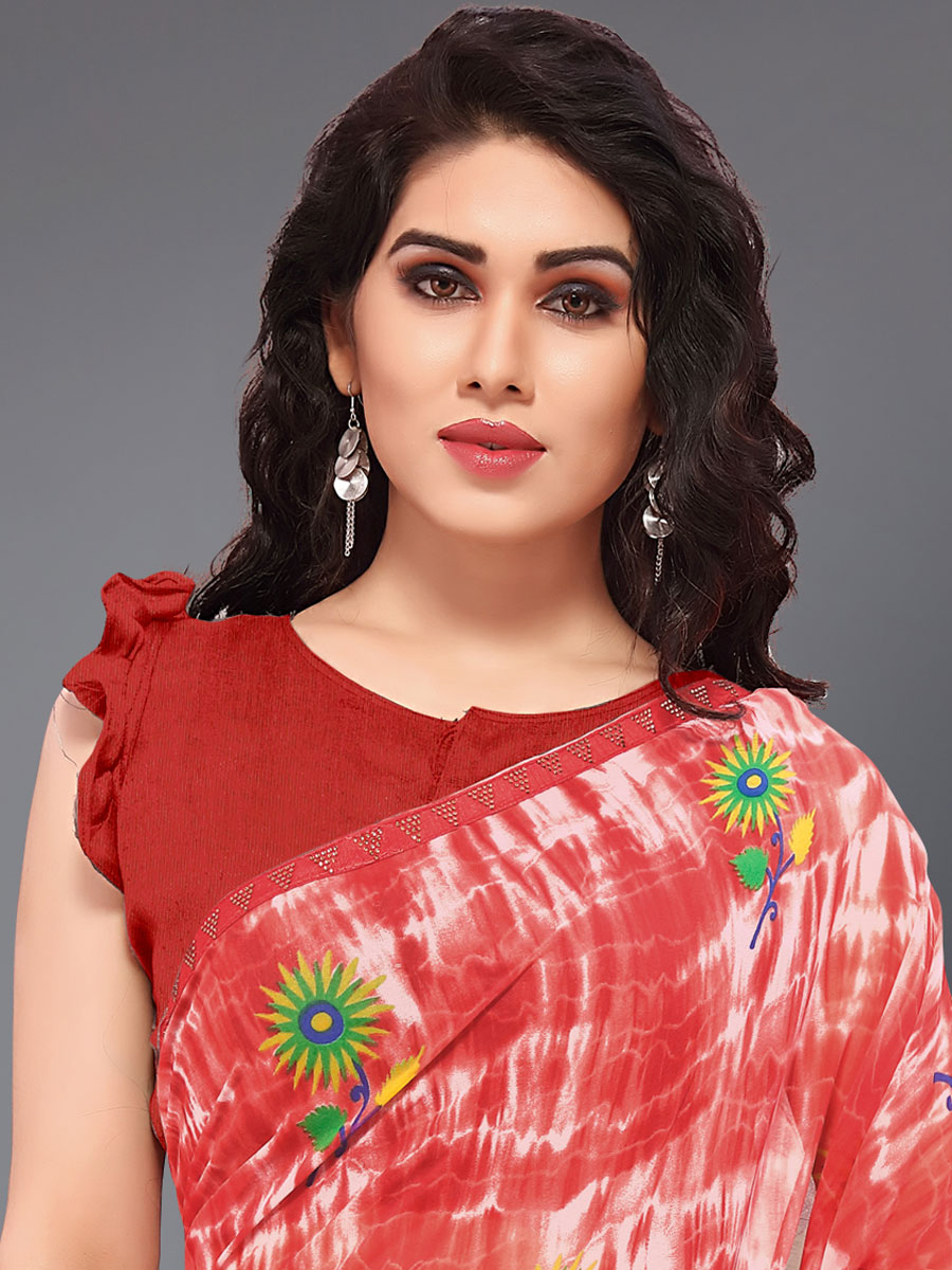 Vermilion Red Faux Georgette Printed Casual Saree
