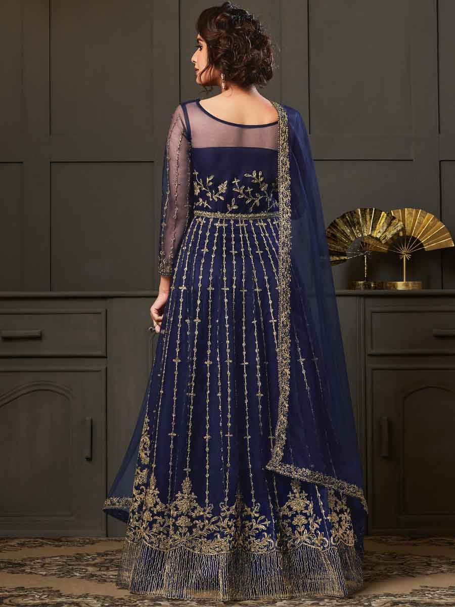 Navy Blue Net Embroidered Festival Lawn Kameez