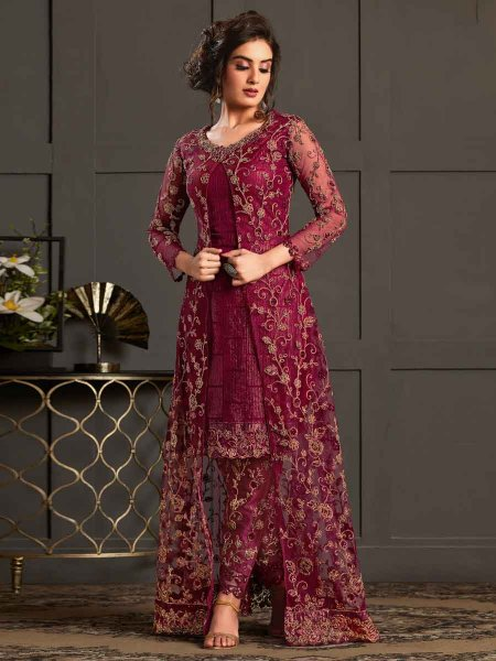 Wine Red Net Embroidered Festival Pant Kameez