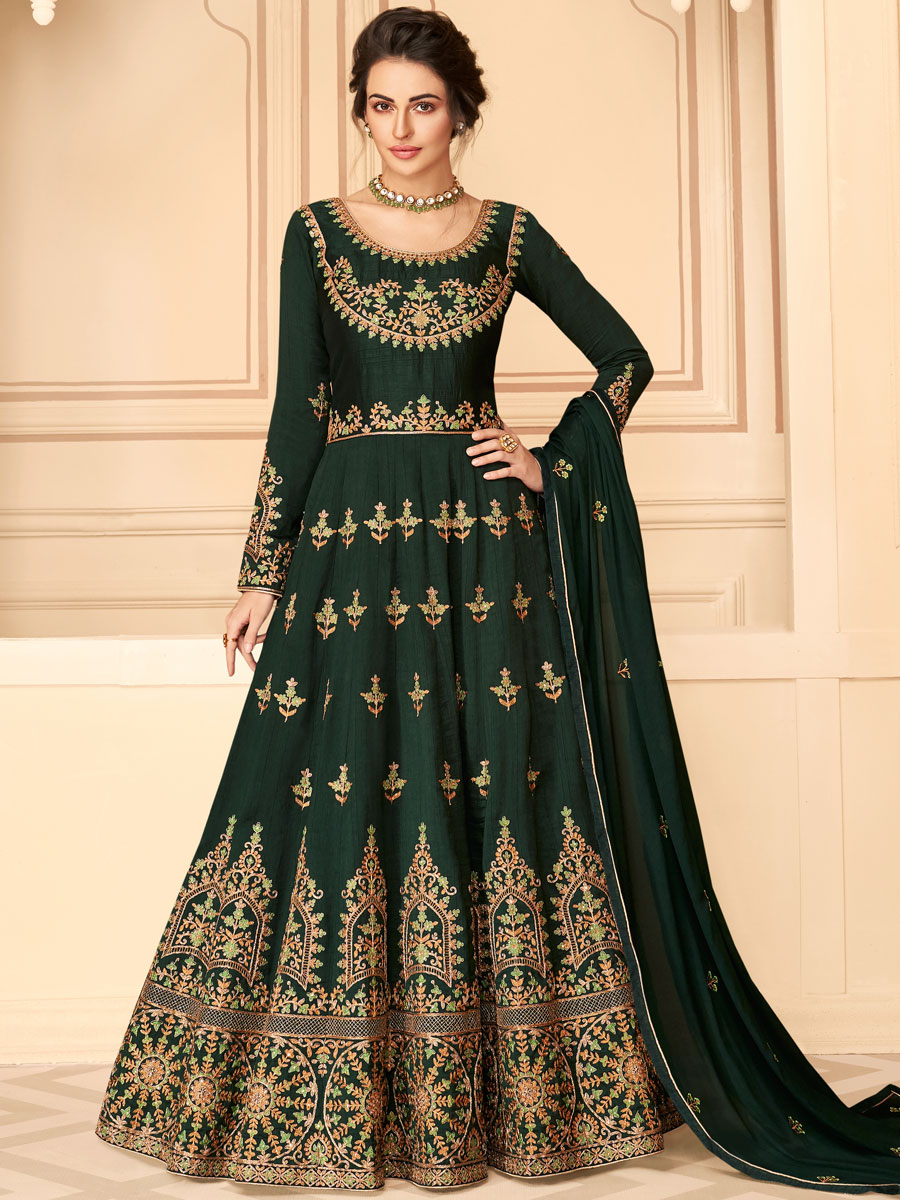 Hunter Green Silk Embroidered Festival Lawn Kameez