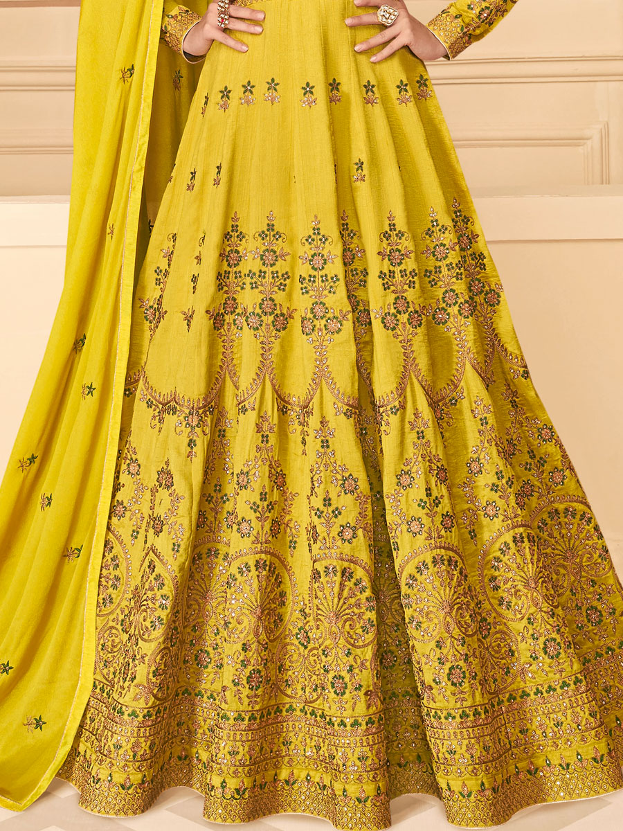 Mustard Yellow Silk Embroidered Festival Lawn Kameez