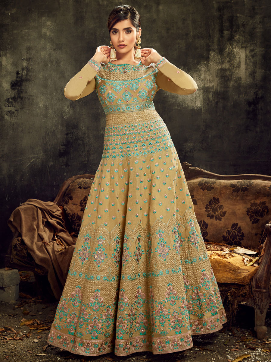 Old Gold Yellow Silk Embroidered Festival Lawn Kameez