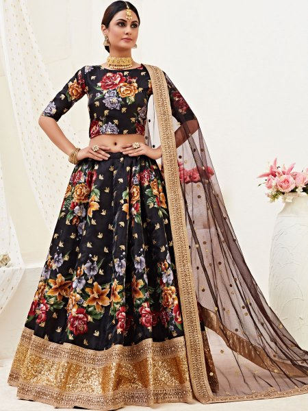 Black Satin Silk Embroidered Festival Lehenga Choli