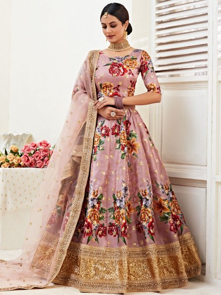 Light Thulian Pink Satin Silk Embroidered Festival Lehenga Choli
