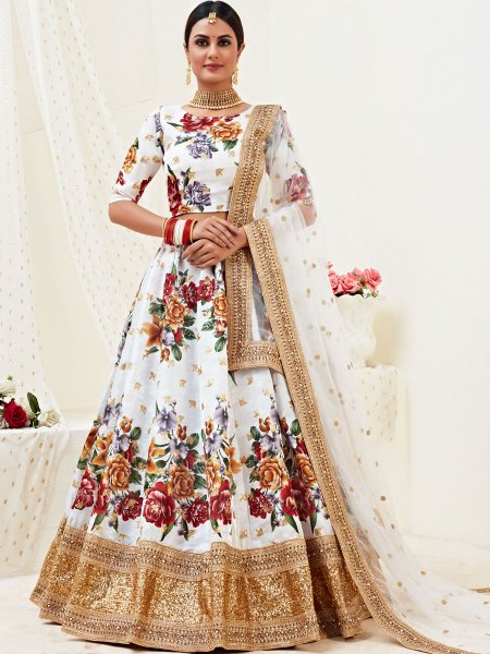White Satin Silk Embroidered Festival Lehenga Choli