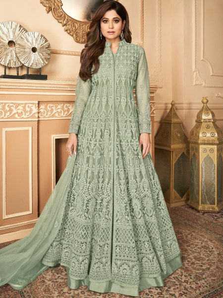 Celadon Green Satin Silk Embroidered Festival Lawn Kameez