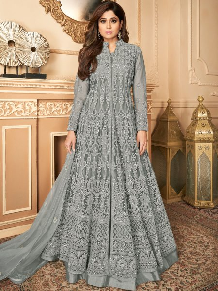 Gray Satin Silk Embroidered Festival Lawn Kameez