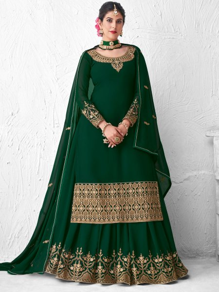 Hunter Green Faux Georgette Embroidered Festival Lehenga with Suit