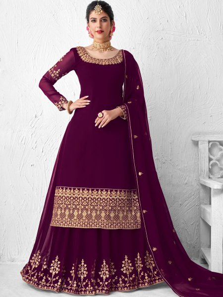 Byzantium Purple Faux Georgette Embroidered Festival Lehenga with Suit