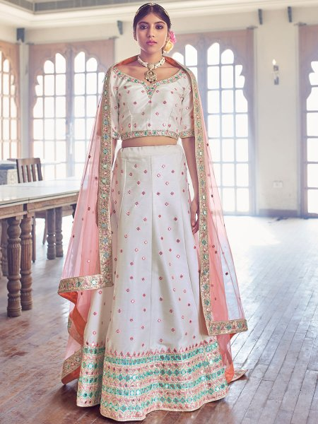 Off-White Silk Embroidered Wedding Lehenga Choli