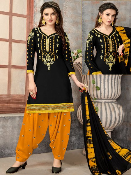 Black Cotton Embroidered Party Patiala Pant Kameez